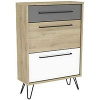 image-Chervil Shoe Storage Cabinet In Kronberg Oak And Pearl White