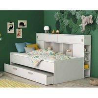 Cherwood Overhead Storage Single Bed In Matt White With Drawers