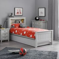 Product photograph showing Cheshire Bookcase Bed With Underbed In Dove Grey Lacquer