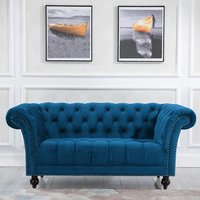 Product photograph showing Chester Fabric 2 Seater Sofa In Midnight Blue
