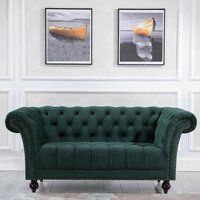 Product photograph showing Chester Fabric 2 Seater Sofa In Midnight Green Velvet