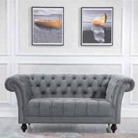 Product photograph showing Chester Fabric 2 Seater Sofa In Midnight Grey