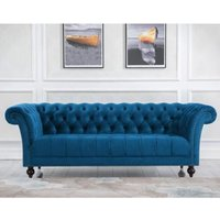 Product photograph showing Chester Fabric 3 Seater Sofa In Midnight Blue