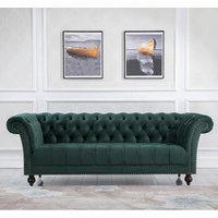 Product photograph showing Chester Fabric 3 Seater Sofa In Midnight Green Velvet