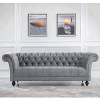 Product photograph showing Chester Fabric 3 Seater Sofa In Midnight Grey