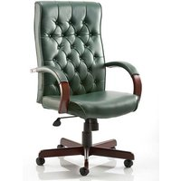 Chesterfield Leather Office Chair In Green With Arms