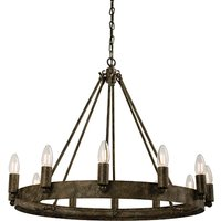Product photograph showing Chevalier 12 Lights Ceiling Pendant Light In Aged Metal Paint