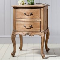 Chic Bedside Table In Weathered Finish With 2 Drawers