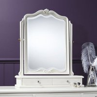 Product photograph showing Chic Dressing Table Mirror In Vanilla White