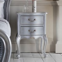 Chic Wooden Bedside Cabinet In Silver With 2 Drawers