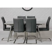 Product photograph showing Chicago Marble Effect Dining Set With 6 Grey Franklin Chairs