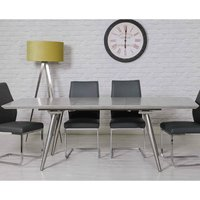 Product photograph showing Chicago Extending Dining Table With Melamine Concrete Effect