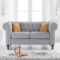 Chilloe Linen Fabric Upholstered 2 Seater Sofa In Grey