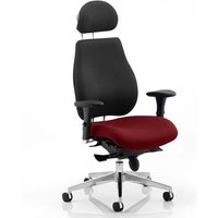 Chiro Black Back Headrest Office Chair With Ginseng Chilli Seat