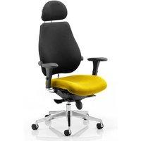 Chiro Black Back Headrest Office Chair With Senna Yellow Seat
