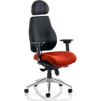 Chiro Black Back Headrest Office Chair With Tabasco Red Seat