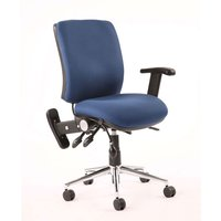 Chiro Fabric Medium Back Office Chair In Blue With Folding Arms