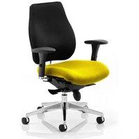 Chiro Plus Black Back Office Chair With Senna Yellow Seat