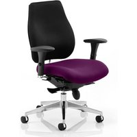 Chiro Plus Black Back Office Chair With Tansy Purple Seat