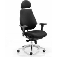 Chiro Plus Fabric Headrest Office Chair In Black With Arms