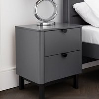 Chloe Wooden Bedside Cabinet In Strom Grey With 2 Drawers