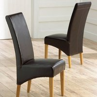 Product photograph showing Choe Brown Bonded Leather Dining Chairs With Oak Legs In A Pair