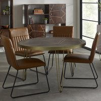 Product photograph showing Chort Round Dining Table In Dark Walnut With 4 Brown Chairs