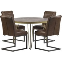 Product photograph showing Chort Round Dining Table In Dark Walnut 4 Dark Brown Chairs