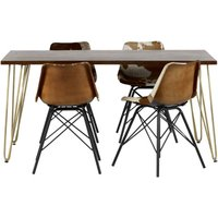 Product photograph showing Chort Wooden Dining Table In Dark Walnut With 4 Cowhide Chairs