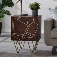 Product photograph showing Chort Wooden Side Table In Dark Walnut With 2 Drawers