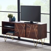 Product photograph showing Chort Wooden Tv Stand In Dark Walnut With 2 Doors 1 Shelf
