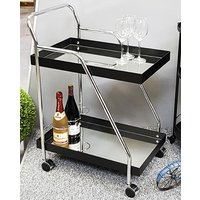 Product photograph showing Chulavista Metal Drinks And Serving Trolley In Chrome And Black