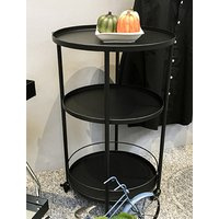 Product photograph showing Chulavista Round Metal Drinks And Serving Trolley In Black