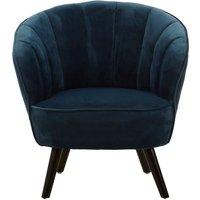 image-Ciaz Tub Style Velvet Upholstered Bedroom Chair In Blue