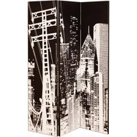 Product photograph showing New York City Canvas Printed Room Divider In A Monotone Colour