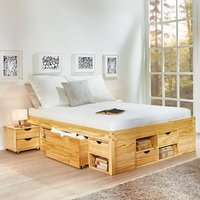 Claas Wooden Functional King Size Bed In Natural Oak