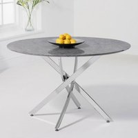 Product photograph showing Clara Round Marble Dining Table In Grey With Chrome Legs