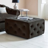 Product photograph showing Clarance Fabric Ottoman Square In Brussels Espresso