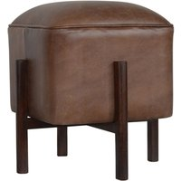 Product photograph showing Clarkia Leather Footstool In Brown With Solid Wood Legs