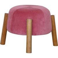 Product photograph showing Clarkia Velvet Cone Footstool In Pink With Solid Wood Legs