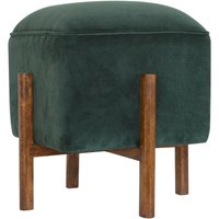 Product photograph showing Clarkia Velvet Footstool In Emerald Green With Solid Wood Legs