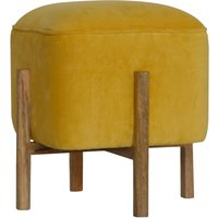 Product photograph showing Clarkia Velvet Footstool In Mustard With Solid Wood Legs