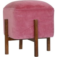 Product photograph showing Clarkia Velvet Footstool In Pink With Solid Wood Legs