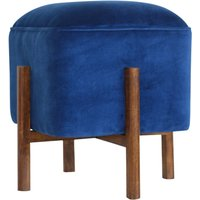 Product photograph showing Clarkia Velvet Footstool In Royal Blue With Solid Wood Legs