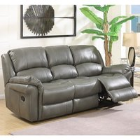 Claton Recliner 3 Seater Sofa In Grey Faux Leather