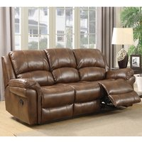 Claton Recliner 3 Seater Sofa In Tan Faux Leather