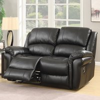 Claton Recliner 2 Seater Sofa In Black Faux Leather