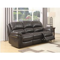 Claton Recliner 3 Seater Sofa In Brown Faux Leather
