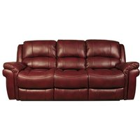 Claton Recliner 3 Seater Sofa In Burgundy Faux Leather