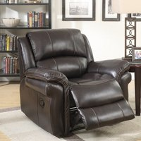 Claton Recliner Sofa Chair In Brown Faux Leather